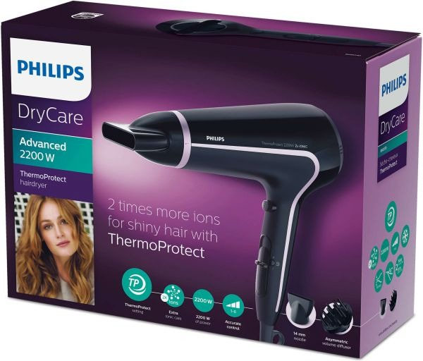 Philips DryCare Advanced Hairdryer ThermoProtect Ionic, 2200 W, Volume diffuser - BHD170